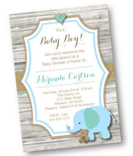 Blue Elephant Baby Shower Invitation for Boy or Gender Nuetral - Baby Shower Invitation