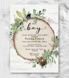 Botanical Baby Shower Invitation Rustic Greenery Botanical Boy Girl or Gender Neutral Bird with nest Woodland Invite - Baby Shower