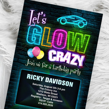 Boy Glow Party Invitation - Neon Light Glow Birthday Party Invite - Lets Glow Crazy - Boy or Girl - Birthday Invitation
