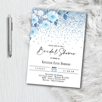 Dusty Blue Bridal Shower Invitation - Printed or Printable Floral Glitter Navy Bridal Shower Invites