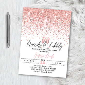Rose Gold Bridal Shower Invitation, Glitter Confetti Pink Blush Sparkles Printed or Printable Wedding Invites