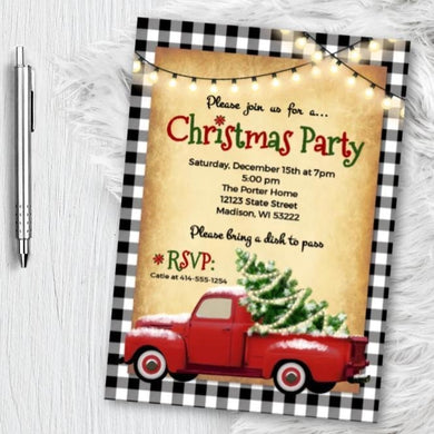 Buffalo Check Christmas Party Invitation with vintage truck with christmas tree - vintage holiday invites - printed or printable - Holiday