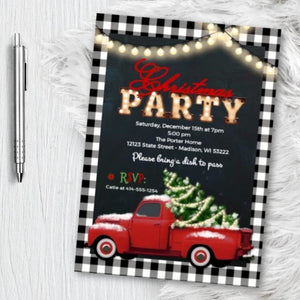Buffalo Check Christmas Party Invitation with vintage truck with christmas tree - Buffalo Plaid Marquee Letter vintage holiday invites -