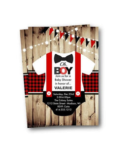 Buffalo Plaid Baby Shower Invitation - Buffalo Plaid Red and Black Oh Boy Little Man Onesie Baby Shower Invitation Flyer with bowtie - Baby