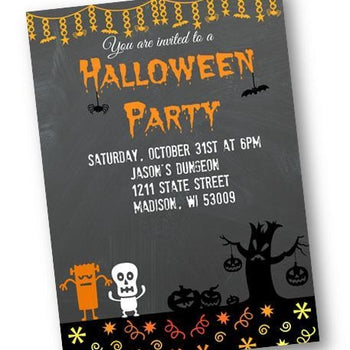 Chalkboard Halloween Party Invitation - Holiday Invitation
