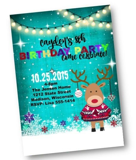 Christmas Birthday Party Invitation for Holiday Kids Party with Reindeer in Ugly Sweater Flyer - Holiday Invitation