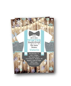 Christmas - Winter Wonderland Boy Baby Shower Invitation Flyer - Holiday Invitation