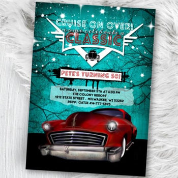Classic Car Birthday Invitation - Hot Rod Birthday Invitation - Mens Rockabilly Low Rider 50s themed 40th 50th 60th 80th 70th party invite -