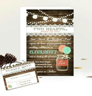 Coral and Mint Rustic Mason Jar Rustic Wedding Invitation with RSVP - Wedding Suite