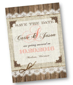 Coral Burlap And Lace Save the Date Invitation - Save the Date