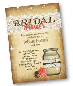Coral Mason Jar Bridal Shower Invitation Rustic Flyer - Bridal Shower Invitation