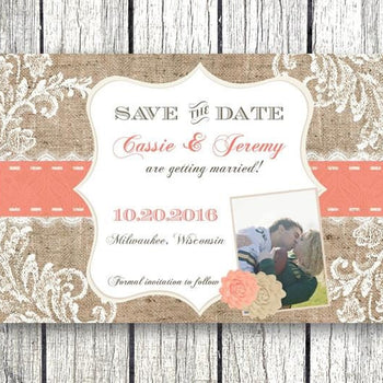 Coral / Tan Rustic Burlap And Lace Save The Date Wedding Invitations - Save the Date