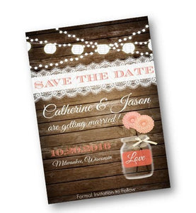 Coral Wood Rustic Mason Jar Wedding Save the Date Invitation Flyer - Save the Date