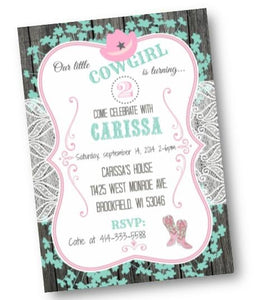 Cowgirl Birthday Party Invitation Flyer in Pink and Teal - Birthday Invitation
