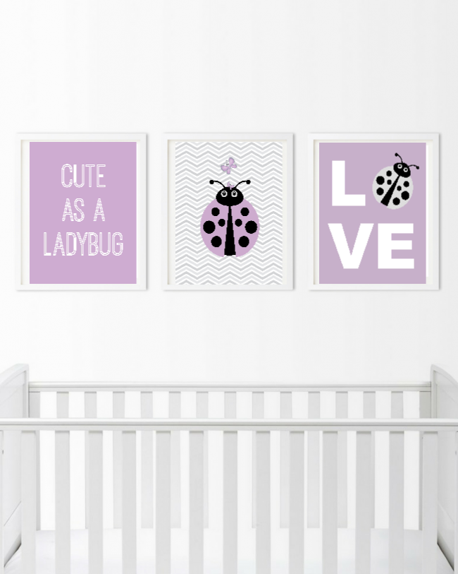 Cute as a Butterfly Wall Art - Baby Girl Wall Decor Prints - Bedroom Pictures
