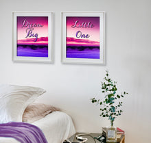 Dream Big Little One 2 Piece Wall Art Print - Bedroom Decor - Picture Set
