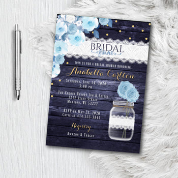 Dusty Blue Bridal Shower Invitation, Gold Navy Blue Rustic Floral, Wedding Shower invite, printed or printable, Dusty Blue and Navy Printed Invite