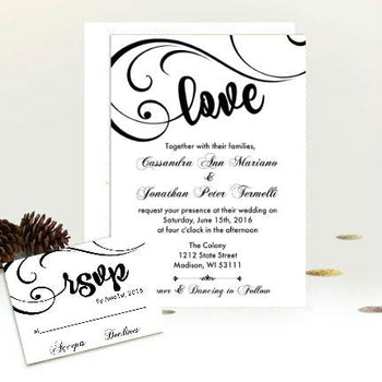 Elegant Script Love Wedding Invitation Suite - Classic Black and White Swirly Invite with RSVP insert - Wedding Suite