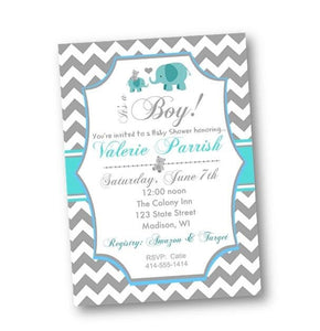Elephant Baby Shower Invitation Flyer - pink chevron girl elephant invite - Baby Shower Invitation