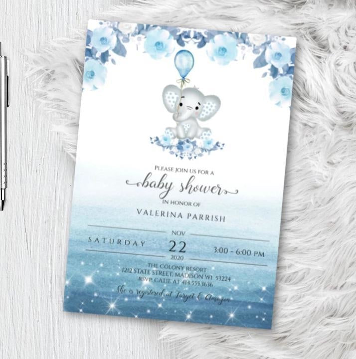 Elephant Baby Shower Invitation for boy - Blue watercolor woodland animal theme shower invites flyer - Printed or Printable - Baby Shower