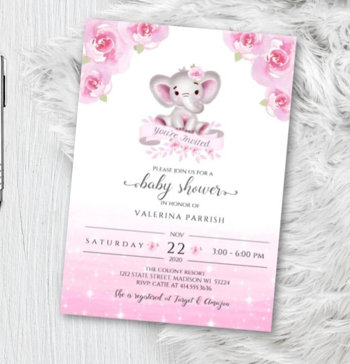 Elephant Baby Shower Invitation for Girl - Pink and Gray Floral watercolor woodland animal theme shower invites flyer - Printed or Printable