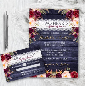 Fall Wedding Invitation Set with RSVP Navy and Burgundy Floral Fall Wedding Invites Suite Gold Script Printed or Printable - Wedding Suite