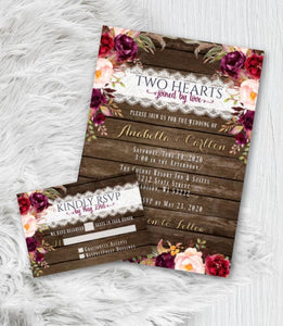 Fall Wedding Invitation Set with RSVP Rustic Burgundy Floral Fall Wedding Invites Suite Gold Script Printed or Printable - Wedding Suite