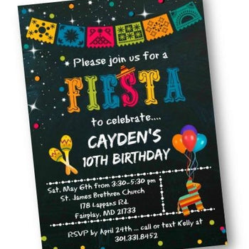 Fiesta Birthday Party Invitation - Chalkboard Mexican Fiesta Themed Invites - Birthday Invitation