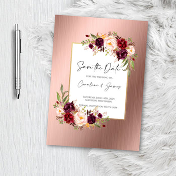 Rose Gold Floral Save the Date Invitation Announcement Engagement card - blush pink - dusty rose - flower Invite