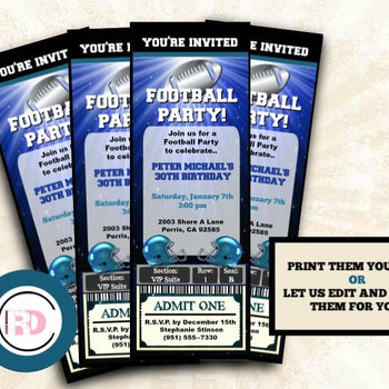 Football Party Ticket Invitation - Blue and Silver Sports Invitations - Digital or Printed - Birthday Invitation