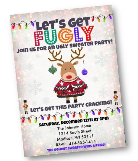 Fugly Ugly Sweater Christmas - Holiday Party Invitation Flyer - Holiday Invitation