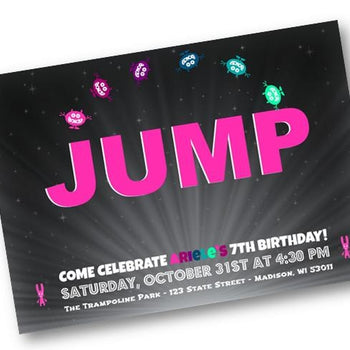 Girl or Boy Jump Birthday Invitation - Trampoline Skyzone Party Invite - Birthday Invitation