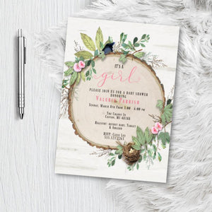 Easter Baby Shower Invitation for girl, Rustic Greenery Botanical Boy Girl or Gender Neutral Bird with nest Woodland Invite