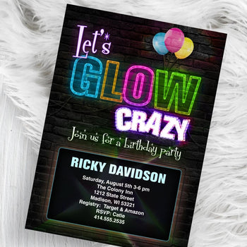 Glow Birthday Party Invitation - Neon Lights - Colorful Light up Glow theme party invite flyer - Birthday Invitation