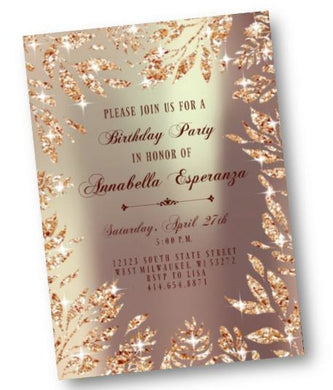 Gold Birthday Invitation - Rose Gold Leaf Sparkly Sweet 16 or ANY Age party invite - glitter digital printable or printed - Birthday