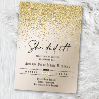 Gold Graduation Invitation Girl, Class of 2020 Graduate Grad Invite Printed or Printable Option, Gold Silver Glitter Sparkly Confetti Class of 2020 invitation