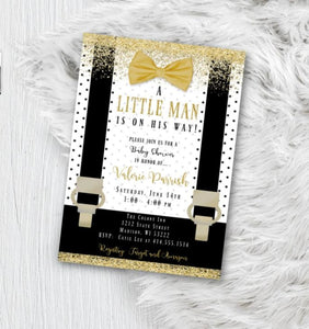 Gold Little Man Baby Shower Invitation - Black and White with Gold baby shower Lil Man Boy Onesie Bowtie invite flyer for boys - Baby Shower