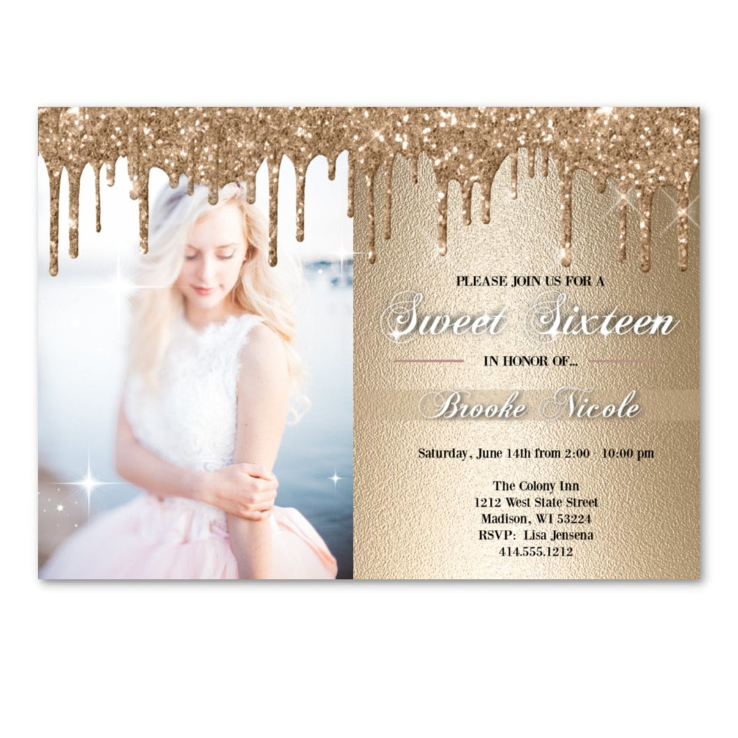 Gold Sweet 16 Invitation - Gold Glitter Sparkly Sweet Sixteen Birthday Party Invite with Photo - Birthday Invitation