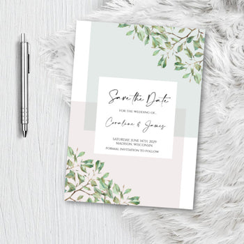 Greenery Botanical Save the Date Invitation Announcement Engagement card sage- blush pink - dusty rose -Invite