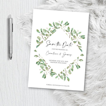 Copy of Greenery Botanical Save the Date Invitation Announcement Engagement card Invite