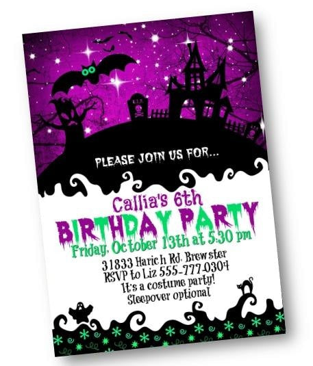 Halloween Birthday Invitation Haunted House Birthday Party Flyer in purple and green - Holiday Invitation