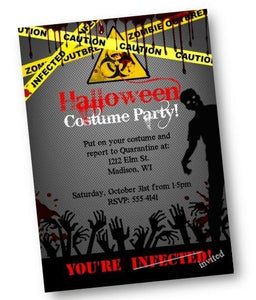 Halloween Invitation Zombie Costume Party Invite Flyer - Holiday Invitation
