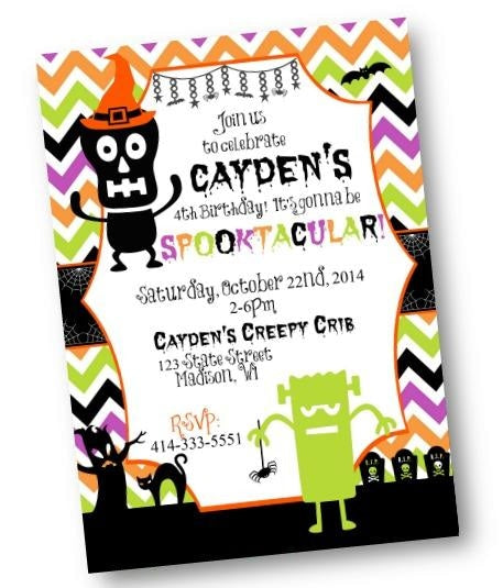 Halloween Monsters Birthday Invitation Flyer - Holiday Invitation