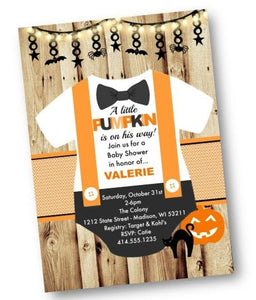 Halloween Onesie Baby Shower Invitation Flyer with Pumpkin - Holiday Invitation