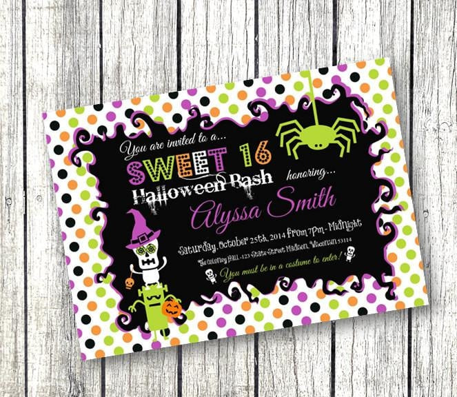 Halloween Sweet 16 Invitation - Holiday Invitation
