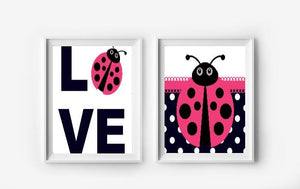 Hot Pink Ladybug Wall Art Prints - Set of 2 - Girls Bedroom Pictures