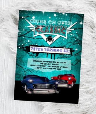 Hot Rod Birthday Invitation - Mens Classic Car Invite - Rockabilly Low Rider 50s themed 40th 50th 60th 80th 70th party flyer auto classic -