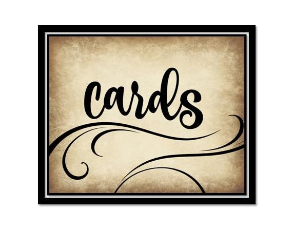INSTANT DOWNLOAD - Cards Sign for Gift Table - Wedding Decor - Rustic Swirl Script