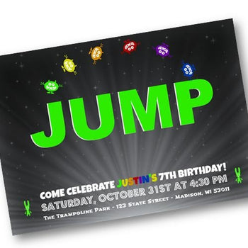 Jump Birthday Invitation - Trampoline Skyzone Party Invite for Boy or Girl - Birthday Invitation