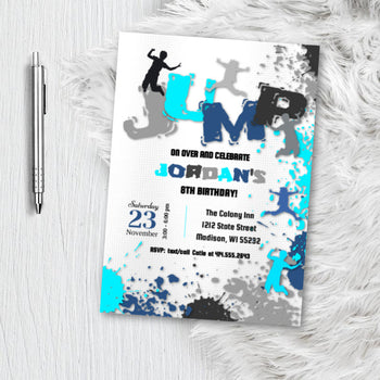 Boy Jump Party Birthday Invitation, Trampoline Park Invite, Boy Girl Party Invite for SkyZone Jump Zone